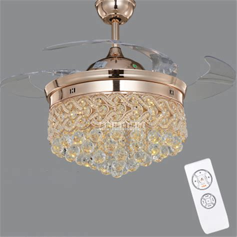 Modern Crystal LED Ceiling Fan With Foldable Blades