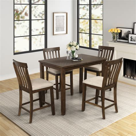 Modern Wood Dining Table with 5 Chairs and 1 Bench