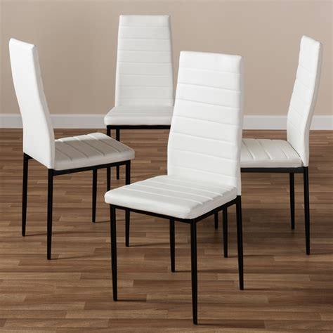 Modern contemporary dining chairs leather white