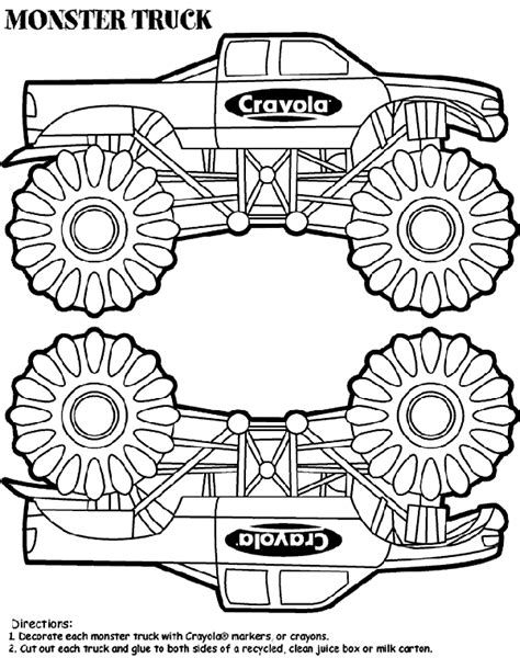 Monster Truck Box Coloring Page crayola