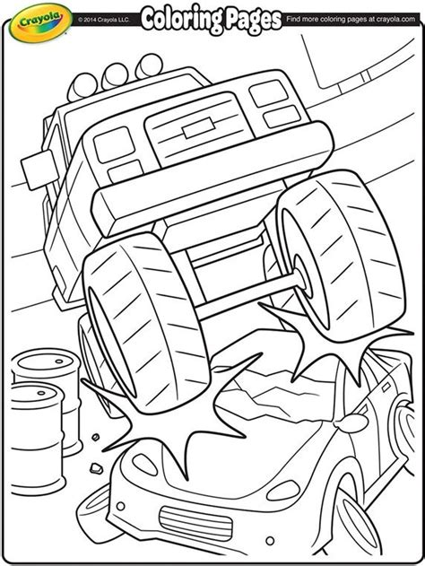Monster Truck Crushing a Car Coloring Page crayola