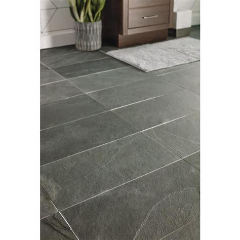 Montauk Black 12 in x 24 in Gauged Slate Floor and Wall