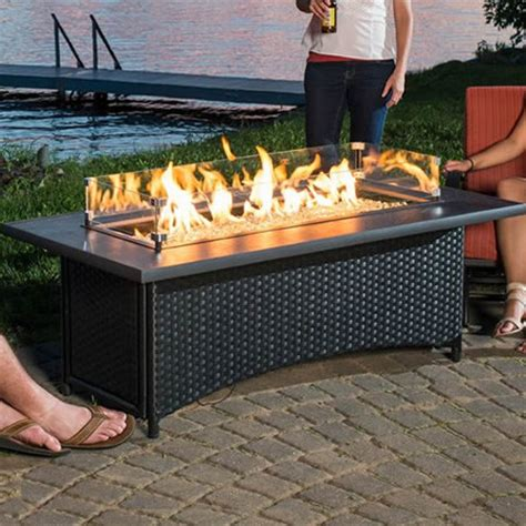 Montego Gas Fire Pit Coffee Table Black WoodlandDirect