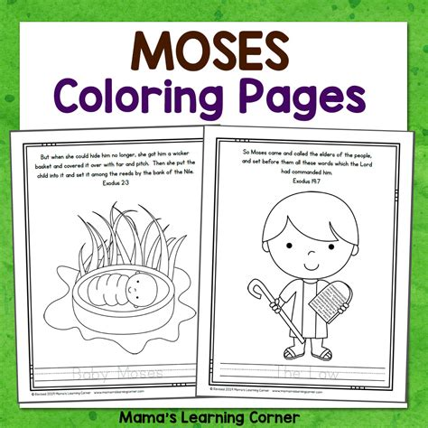 Moses Bible Coloring Pages Mamas Learning Corner