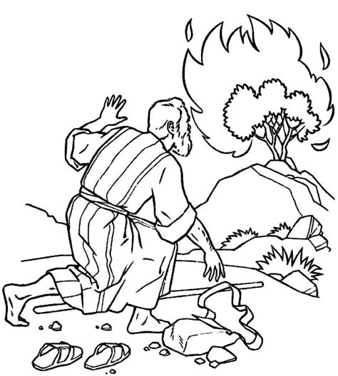Moses and the Burning Bush Cartoon Coloring Page