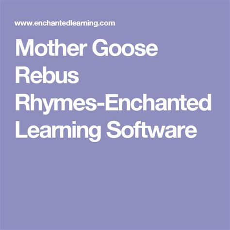 Mother Goose Rebus Rhymes Enchanted Learning Software