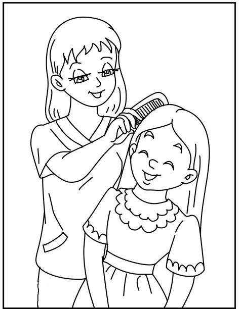 Mother and daughter coloring page Free Printable