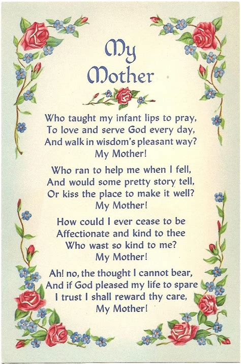 Mothers Day Verses Poems Quotes for cards