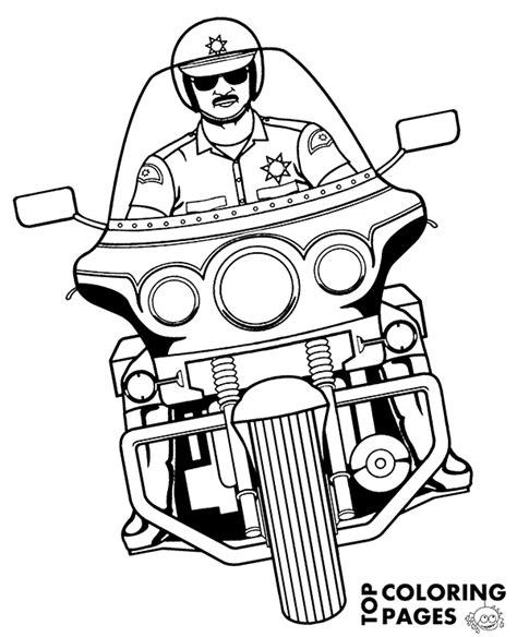 Motorcycle Policeman coloring page Free Printable
