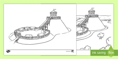 Motte and Bailey Castle Colouring Page KS1 history castles