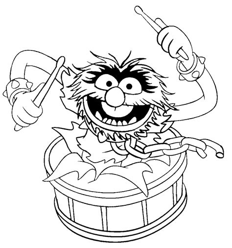Muppets Animal with Drumsticks coloring page Free