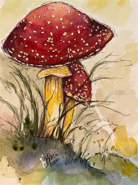 Mushroom drawing Etsy