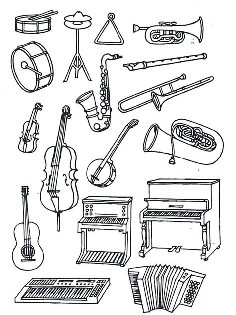 Music Coloring Pages Musical Instruments