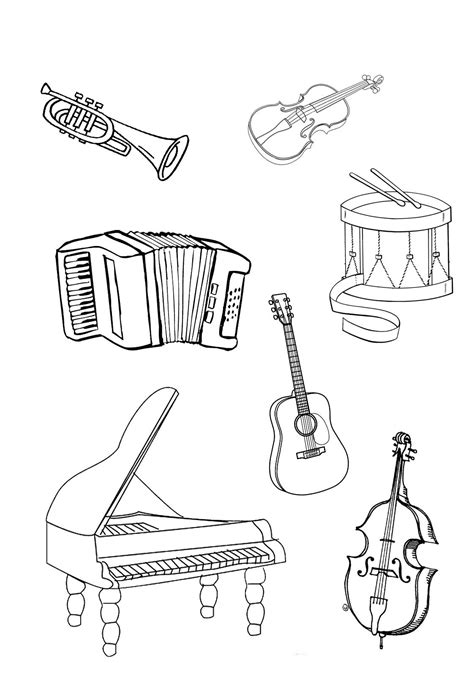 Musical Instruments Coloring Pages Page 1 TheColor