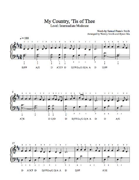 My Country Tis Of Thee by Traditional Piano Sheet Music