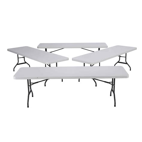 New 2980 4 Pack Lifetime 8 White Granite Folding Table