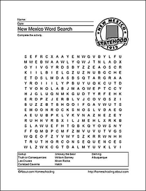 New Mexico Wordsearch Crossword Puzzle and More