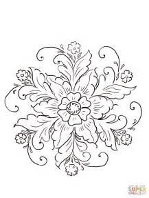 Norwegian Rosemaling coloring page Free Printable