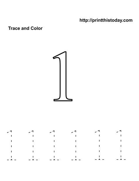 Number Tracing One Worksheet FREE Printable Worksheets