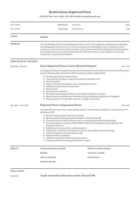 Nurse CV Template Download Nursing resume samples