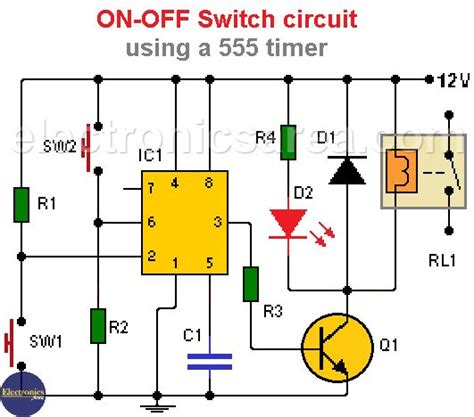 ON OFF Switch circuit using a 555 timer Electronics Area