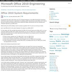 Office 2010 System Requirements Microsoft Office 2010