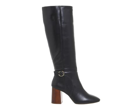 Office Koko Smart Knee Boots Black Leather Knee Boots