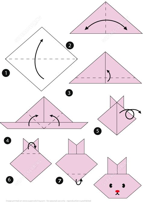 Origami Rabbit Face Folding Instructions How to Make