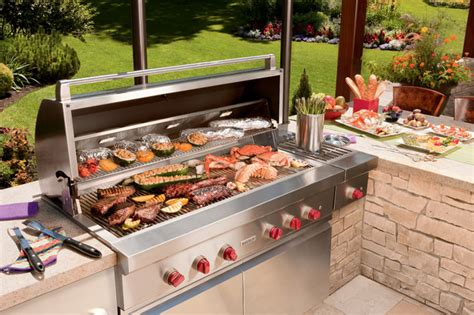 Outdoor kitchen with Wolf grill Transitional Patio