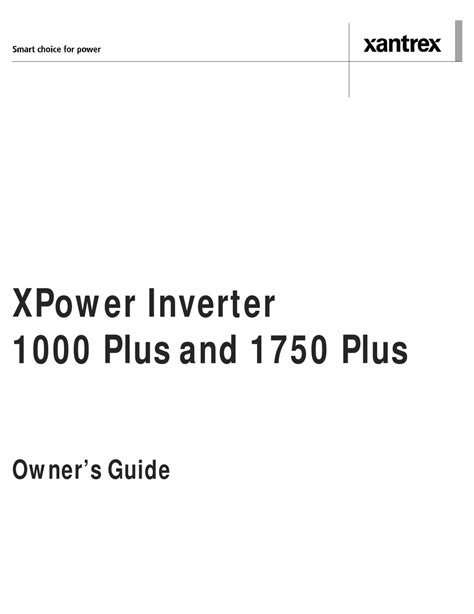 Owner s Guide XPower 1000 Inverter