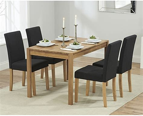 Oxford 120cm Solid Oak Dining Table with Mia Fabric Chairs