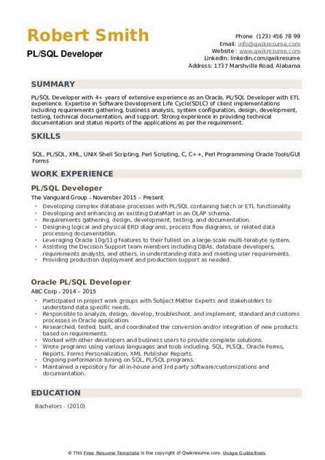 pl sql developer resume sample best format - Pl Sql Developer Resume