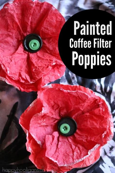 Painted Coffee Filter Poppy Craft Happy Hooligans