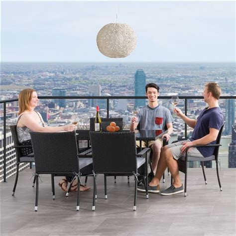 Patio Dining Set Soho Grey Black 7 Pieces RONA