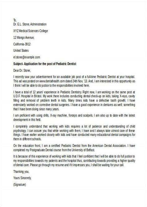 Pediatric Dentist Cover Letters AROJ COM