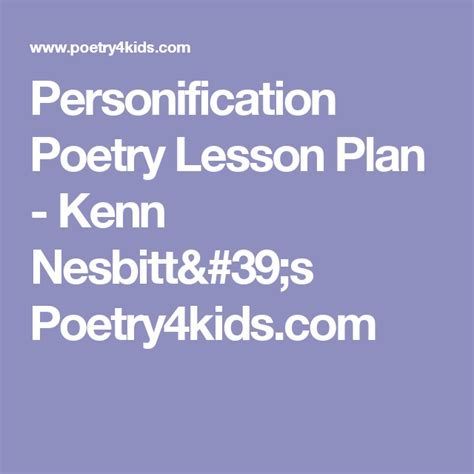 Personification Poetry Lesson Plan Kenn Nesbitt s
