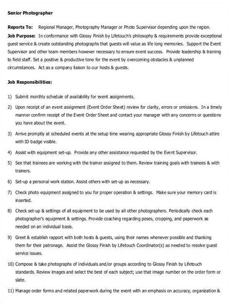 Photographer Job Description Duties and Jobs Part 1