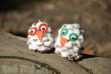 Pine Cone Crafts Snowy Owls Red Ted Art s Blog