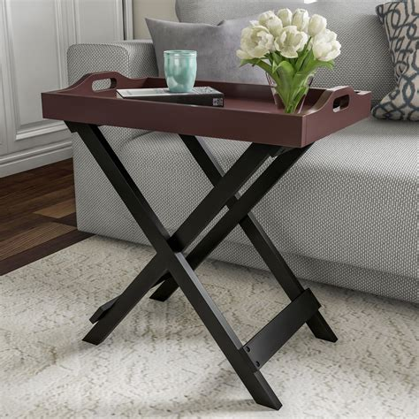 Pine Folding End Table Contemporary Outdoor Side