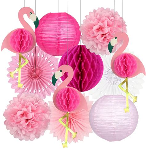 Pink Flamingo Paper Plates Summer Party Supplies
