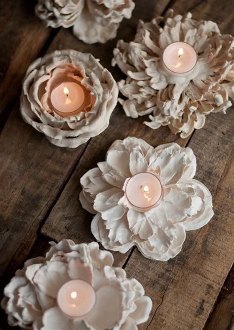 Plaster Flower Votives Design Mom