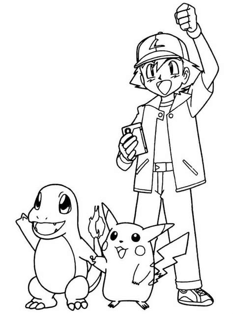 Pokemon Ash 1 Coloring Pages for Kids