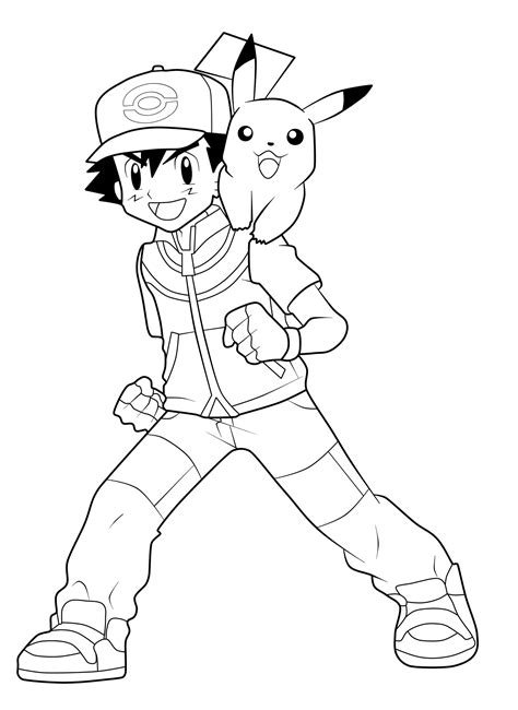 Pokemon Ash And Pikachu Coloring Pages