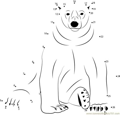 Polar Bear Dot to Dot Activity Page