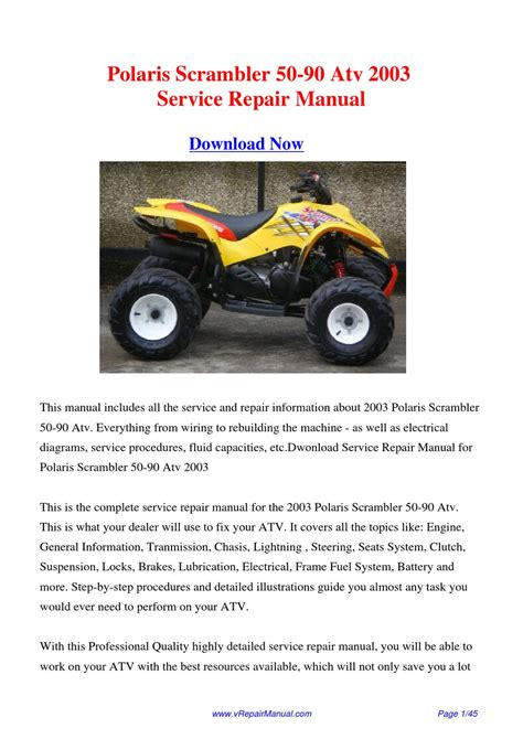 Polaris 50 and 90 Scrambler ATVs Online Service Manual