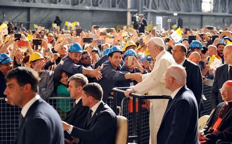 Pope Francis and workers in Genoa National Catholic Reporter