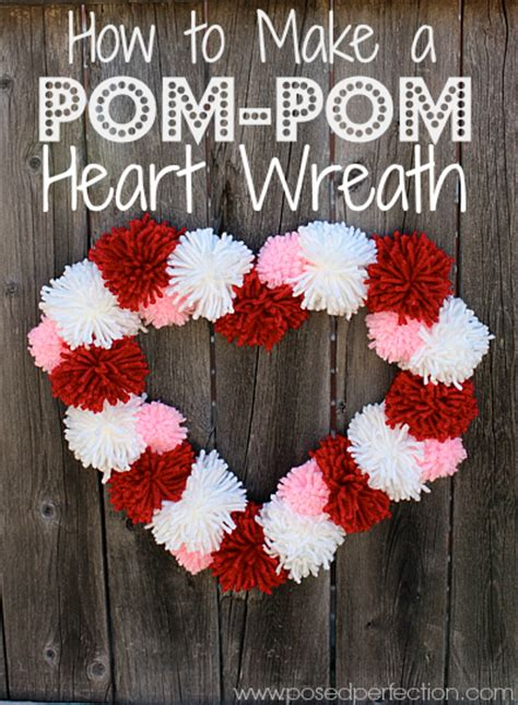 Posed Perfection How to Make a Pom Pom Heart Wreath