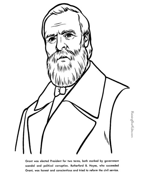 President Rutherford B Hayes Patriotic Coloring Pages