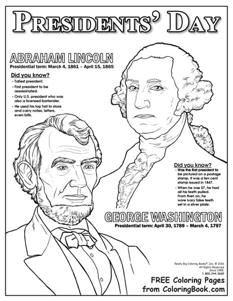 Presidents Day coloring pages Presidents of the United
