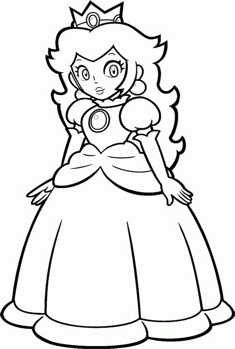 Pretty Princess Peach coloring page Free Printable